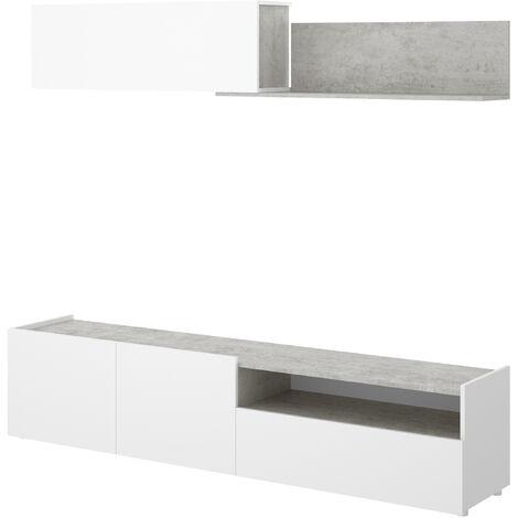 Salón TV compacto -Blanco / Cemento- 180 x 200 x 41 cm