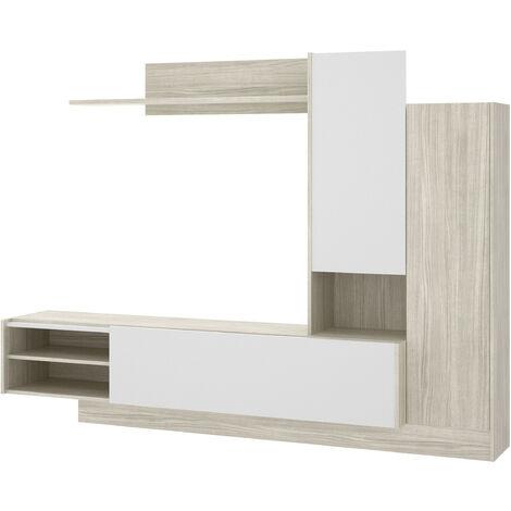 Salón TV Compacto -Gris / Blanco Brillo- 168 x 218 x 40 cm