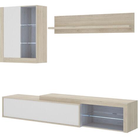 Salón TV Con Leds, Con Puertas Y Estante A Pared -Natural / Blanco Brillo- 180 x 215 x 41 cm