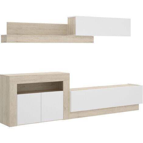Salón TV Con Puertas Y Módulos Horizontales -Natural / Blanco Brillo- 180 x 261 x 40 cm