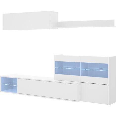 Salón TV Con Vitrina Y Leds -Blanco Brillo- 180 x 260 x 41 cm
