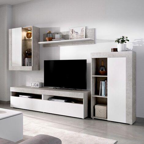 Salon TV de 265 cms. con vitrina por luces leds Blanca y cemento modelo PERSONS