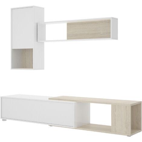 Salón TV flexible -Blanco Brillo / Natural- 180 x 180/230 x 41 cm -Opción montar como rinconera-