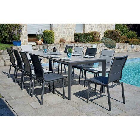 Salon de jardin avec table à double rallonge Gris clair 160/220/270 cm x 92  cm x 74 cm