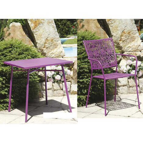 salon de jardin effet filigrane color mauve 70 x 70 x 73. Black Bedroom Furniture Sets. Home Design Ideas