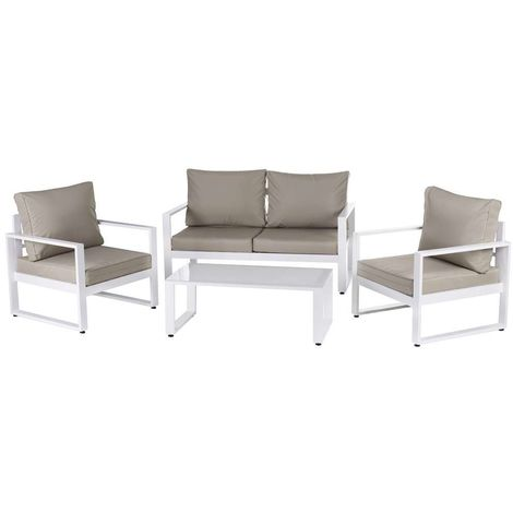 Salon Relax ANNE aluminium BLANC-TAUPE 142 X 71 72 cm - LYN ...