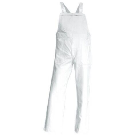 Salopette de Travail Peintre / Platrier / Plaquiste 100% Coton Blanc Brosse - LMA Blanc XL