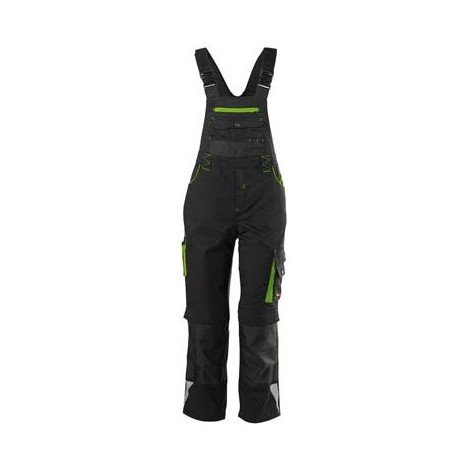 Salopette enfants Fortis 24, Black/limegreen,Gr134-140
