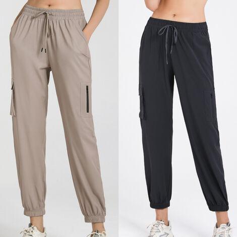 Salopette Pour Femme, Poches A Cordon De Serrage Pantalon De Yoga Extensible A Sechage Rapide, Kaki, Taille S