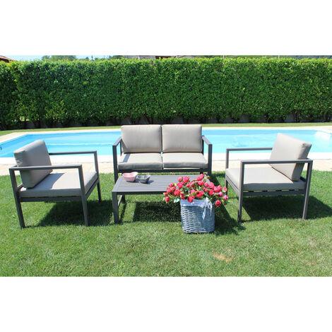 """main image of """"Salottino Moderno """"Avana"""" in alluminio antiruggine con cuscini da giardino e veranda per esterno"""""""
