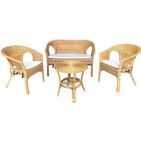 Cuscini Per Poltrone In Vimini.Salotto Completo In Vimini Bambu Rattan E Giunco Naturale Con 1 Divanetto 2 Poltrone 1 Tavolino Kelec Naturale Con Cuscini In Omaggio