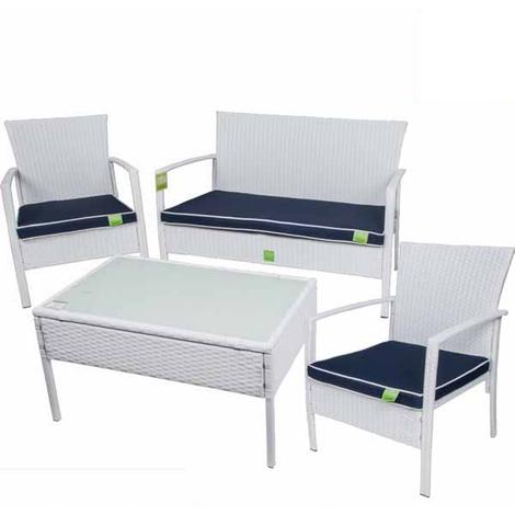 Arredo Giardino Rattan Bianco.Salotto Completo Sofa Trend Bianco In Poly Rattan Enrico Coveri