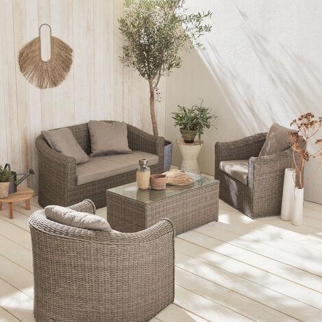 Salotto da giardino, in resina intrecciata, arrotondata, 4 posti - modello: Valentino, colore: Grigio - cuscini, colore: Beige chiné