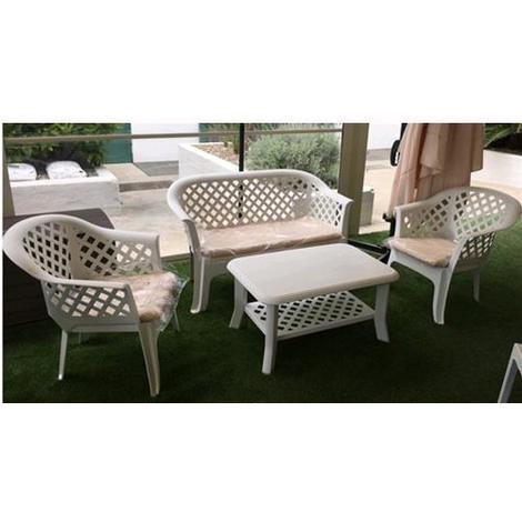 Set Salotto Da Giardino.Salotto Da Giardino In Resina Mod Veranda Colore Bianco Set 4 Pezzi