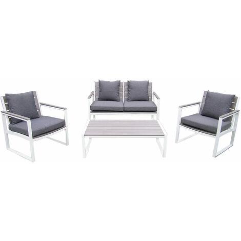 Salotto Da Giardino Bianco.Salotto Da Giardino Set 2 Posti In Alluminio Bianco Da Esterno