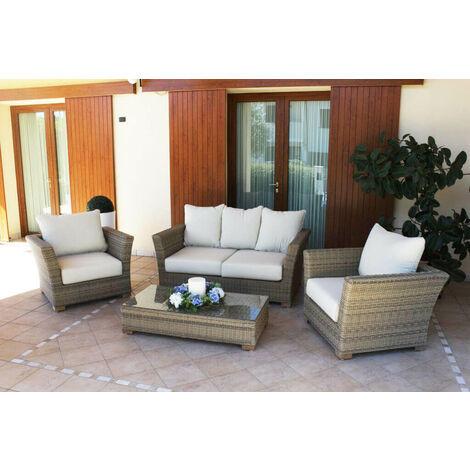 Cuscini Per Salotto Da Giardino.Salotto Da Giardino Set 2 Posti Marrone Con Cuscini Beige Intreccio In Rattan Sintetico Per Esterno Giardino