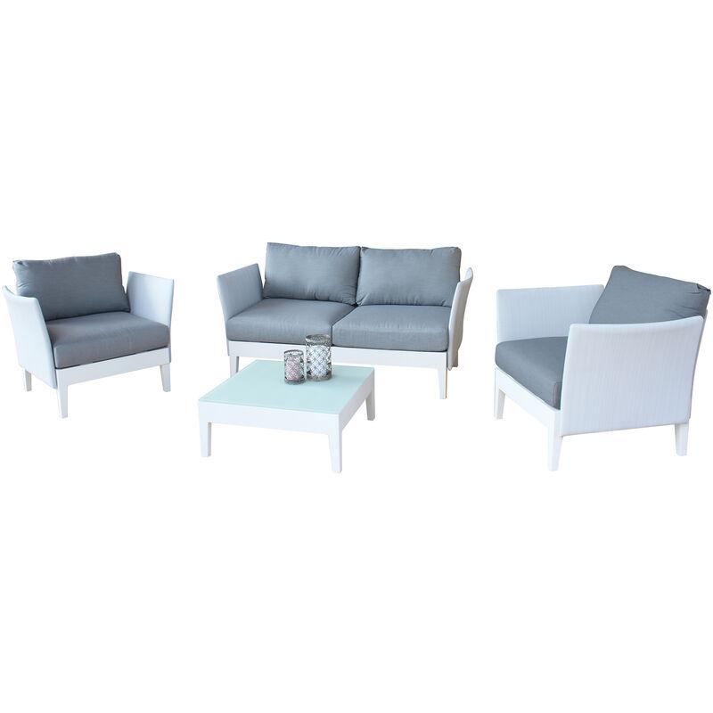 Salotto da giardino set in alluminio 2 posti bianco per for Salotto per giardino