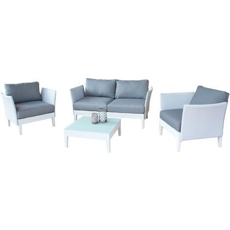 Salotto da giardino set in alluminio 2 posti bianco per for Salotto per terrazzo