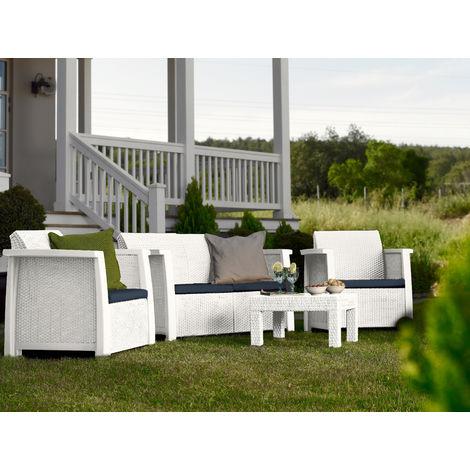 Salotto divani polipropilene effetto rattan da giardino vegas white - Salotto giardino rattan ...