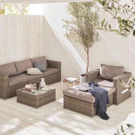 Salotto giardino resina 5 posti, pouf, poltrona, tavolino