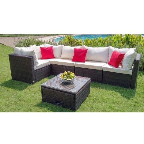 SALSA Salon de jardin en resine tressee - un canape modulable de 5 unites  avec une table basse