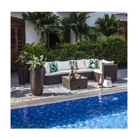 SALSA Salon de jardin en resine tressee - un canape modulable de 5 ...