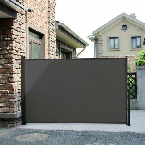 Saltillo gris : brise vue déroulant, paravent extérieur extensible 300 x 150 cm