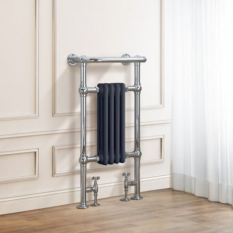 Salzburg Traditional Victorian 952 x 479mm Chrome & Grey Towel Rail Radiator