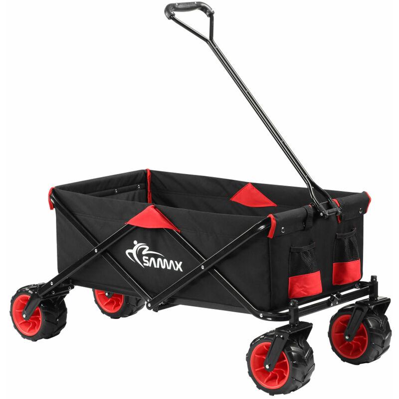 SAMAX Chariot de Transport à Main Pliante Offroad - Noir / Rouge