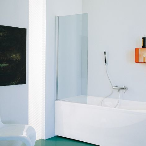 Samo - Pare-bain 75-77 cm Ht.140 cm profilé en alu chromé brillant verre transparent - B1685ULUTR