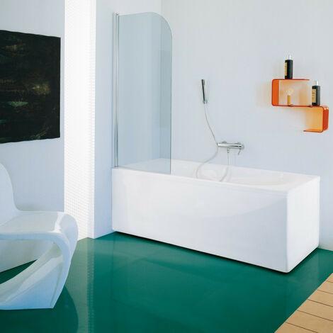 Samo - Pare-bain 85-87 cm Ht.140 cm profilé en alu chromé brillant verre arrondi transparent - B1698ULUTR