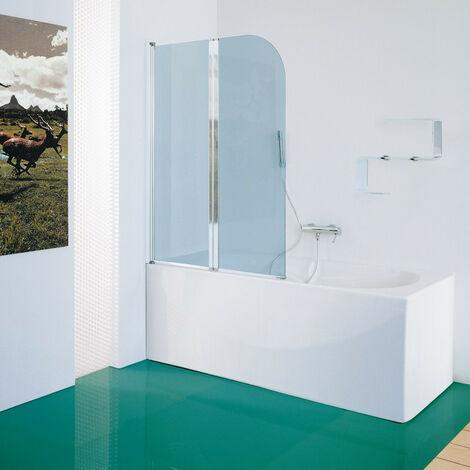 Samo - Pare-bain en verre arrondi 105-107 cm Ht.140 cm profilé blanc transparent - B1696L01TR