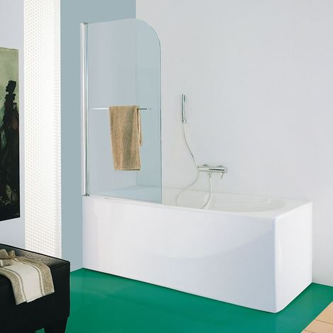 Samo - Pare-bain en verre arrondi 80-82 cm Ht.140 cm profilé chromé brillant transparent - B1672ULUTR