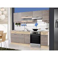 SAMSON M | Cuisine Complète Compacte L 2,4m 7 pcs + Plan de travail INCLUS | Ensemble meubler armoires cuisine linéaire moderne | Navarra
