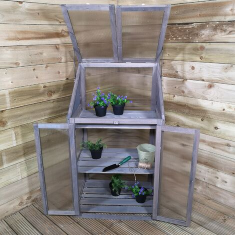 """main image of """"Samuel Alexander Wooden Mini Greenhouse Cold Frame - Small Greenhouse Grey H120 x W69 x D49cm"""""""