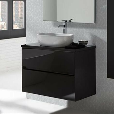 SANCHIS GLASS LINE Mueble+Lavabo Negro Brillo
