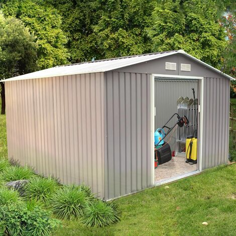 Sancy 10.85 m² : abri de jardin en acier anti-corrosion gris