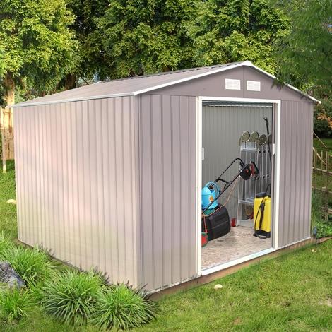 Sancy 7.06 m² : abri de jardin en acier anti-corrosion gris