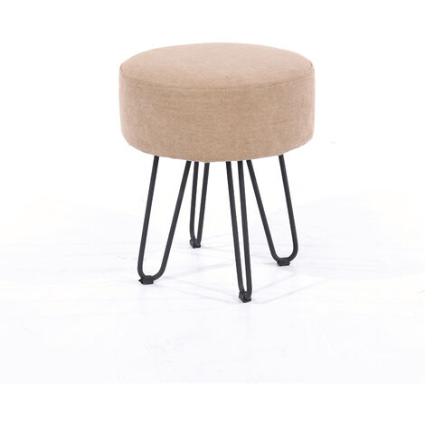 sand fabric upholstered round stool with black metal legs