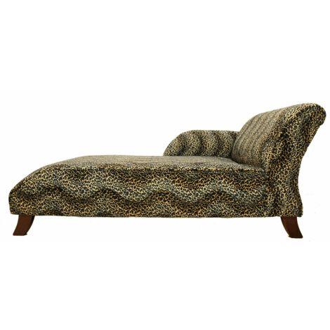 Sand Loepard Fabric chaise lounge seat|Free warranty|DesignerSofas4U