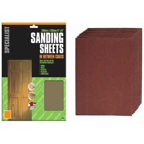 Sand Paper Sheets (280mm x 230mm) Range Of Grit 60-240 (5 Single Sheets)