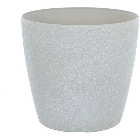 Sand Stone Effect Round Plant Pot Beige 20cm
