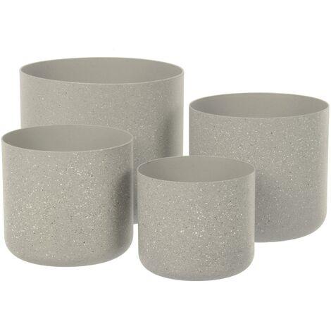 Sand Stone Effect Set of 4 Plant Pots - Beige