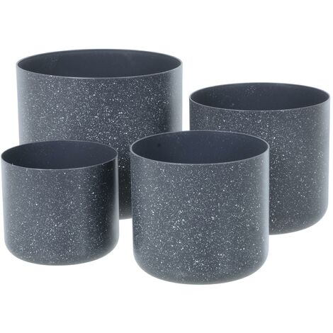 Sand Stone Effect Set of 4 Plant Pots - Dk Grey