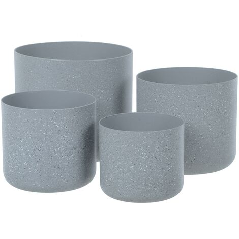Sand Stone Effect Set of 4 Plant Pots - Lt Grey