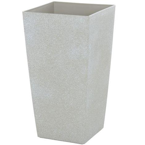 Sand Stone Effect Square Plant Pot Beige 41cm