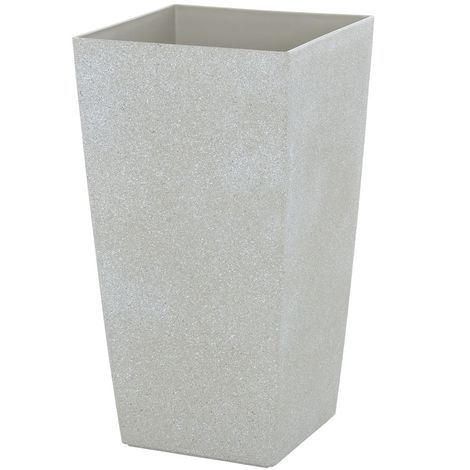 Sand Stone Effect Square Plant Pot Beige 56cm