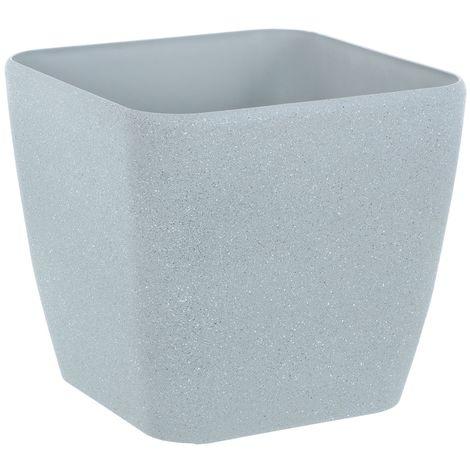 Sand Stone Effect Square Plant Pot Grey 20cm