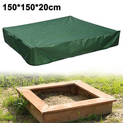 """main image of """"Sandbox Cover, Square Protective Cover for Sand and Toys Away from Dust and Rain, Sandbox Canopy with Drawstring, Sandpit Pool Cover, 150x150x20cm, green"""""""