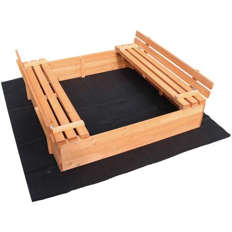 Sandbox folding lid 2 bench seats 980x980x200 mm Spruce wood Fleece floor Sandbox Sand pit